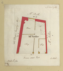 [3 Plan of property in Queen Street occupied by Mr Verdier, dated October 5th, 1764]
